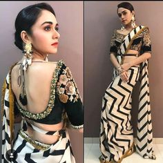 Checkout this white zigzag georgette saree for only 1700 INR For buy WhatsApp @ 9054562754 Blouse Neck Patterns, Saree Blouse Neck Designs, Simple Sarees, Trendy Sarees, Saree Styles, Blouse Styles, Indian Attire, Indian Outfits, White Blouse Designs