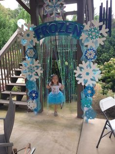 Frozen arbor with shimmer backdrop added. The wow factor in the birthday party! Tip- use LOTS of glitter! Handmade by Holly D.: