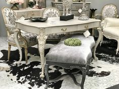 Antique and vintage furniture painted and reinvented in highly desirable styles. Vintage Furniture, Painted Furniture, Furniture Design, French Country Furniture, Country French, Partners Desk, Buy Furniture Online, Vanity Bench, Entryway Tables