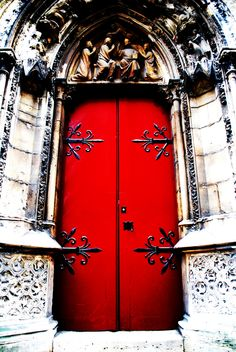 "https://flic.kr/p/7stPqK | Should I enter? What lies beyond? | I saw this truly amazing door at Notre Dame in Paris. I've always loved red doors, but this one was special...even though I was humming ""Paint it Black"" by the Rolling Stones the rest of the day!"
