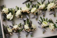 white boutonnieres with gray velvet wraps | Jennefer Wilson #wedding