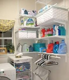 Laundry Room Inspiration & Ideas- This looks cheap enough, would be good to do in our odd shaped laundry room, lavandaria Laundry Room Remodel, Laundry Closet, Laundry Room Organization, Small Laundry, Laundry Room Design, Laundry Storage, Garage Laundry, Cabinet Storage, Storage Shelves