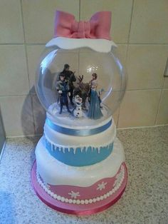 Snow globe cake - both layers blue (and butter cream )