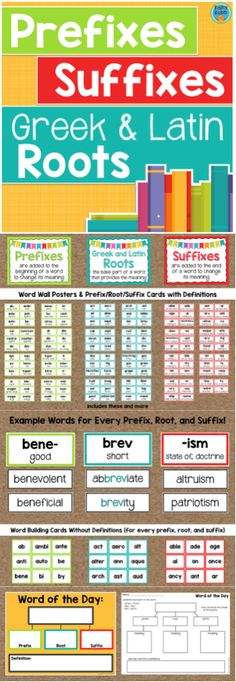 Teach Greek & Latin roots, prefixes, and suffixes with this resource! Includes a complete word wall, word building cards, and word of the day activity.