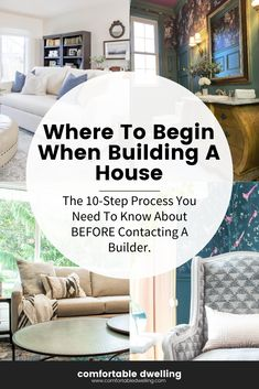 There are steps you should know when it comes to building a house. No matter how many blogs you read, nothing can truly prepare you for the decisions you'll be asked during the build process. In this blog post, we'll share with you the steps to building a house, the average cost of building a house, what type of land to build your house on, and what to expect in the process. Head to the blog post to read further. | building a house | cost of building a house | new home ideas | diy building Teal Living Rooms, Desk In Living Room, Colourful Living Room, Living Spaces, Dining Room, Build Your House, Building A House, Home Styles Exterior, Transitional Home Decor