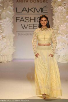 Dia Mirza walks the ramp for designer Anita Dongre on Day 4 of the Lakme Fashion Week (LFW) Summer Resort 2014, held at Grand Hyatt, Mumbai, on March 14, 2014.