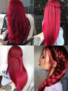 Pink-Red with Yellow Highlights - 20 Cool Styles with Bright Red Hair Color (Updated for - The Trending Hairstyle Bright Red Hair, Red Hair Color, Cool Hair Color, Hair Colors, Red Colour, Elumen Hair Color, Dark Pink Hair, Dyed Red Hair, Ombre Hair
