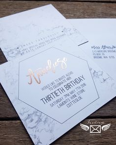 •|| Rose gold ➕ marble ||• front and back. Ooh-la-la #invitations #wedding #engagement #birthday