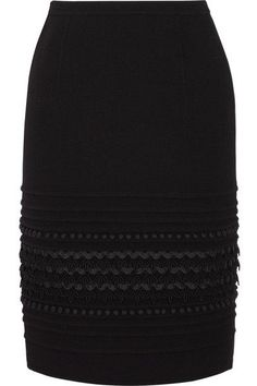 Oscar de la Renta - Embellished Wool-blend Crepe Skirt - Black