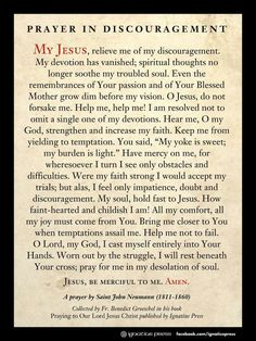 Prayer for times of discouragement