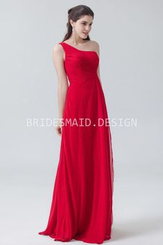 839c9eb7666 elegant pleated one shoulder a line long red chiffon bridesmaid dress Red  Bridesmaids