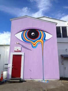 Colorful Murals by Gina Kiel – Fubiz Media Cute Canvas Paintings, Small Canvas Art, Mini Canvas Art, Colorful Paintings, Hippie Painting, Trippy Painting, Graffiti Art, Sticker Art, Poster Art