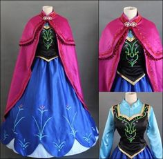 Disney Movie Frozen Anna Dress Made Cosplay Costume For Adult and Children