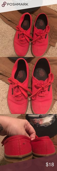Gender neutral kids vans Red vans in great condition for girl or boy  except for small snag on the back heal my son barely wore them you can tell from the bottom soles they were barely worn Vans Shoes Sneakers