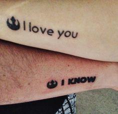 Couple's Star Wars tattoo I love you.. I know
