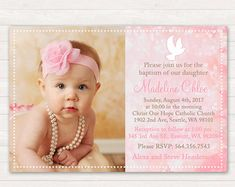 Items similar to Pink Baptism Invitation - Pink Christening Invitation - Girl Baptism - Girl Christening - Printable Baptism - Printable Christening on Etsy Christening Invitations Girl, Baby Girl Christening, Boy Baptism, Baptism Ideas, Pink Invitations, Digital Invitations, Shower Invitations, Wedding Invitations, Pink Damask