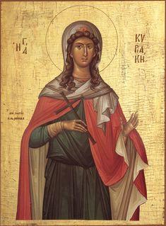 Orthodox Icon of Great Virgin Martyr Kyriake Byzantine Icons, Byzantine Art, Religion Catolica, Orthodox Christianity, Catholic Saints, Art Icon, Orthodox Icons, Persecution, Sacred Art