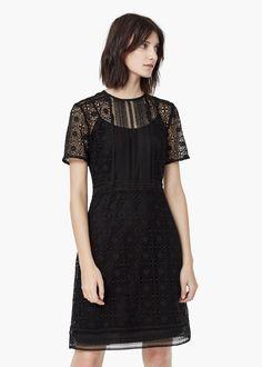 Vestido guipura - Vestidos de Mulher | MANGO