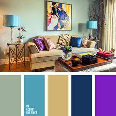 azul oscuro y celeste, azul oscuro y violeta, color violeta en la decoración de un local, combinación de colores para decorar interiores, gris y celeste, matices fríos y cálidos, selección de colores para el diseño de interiores, tonos beige.