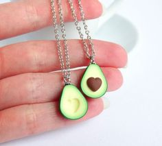 Green avocado friendship necklace pendant by ShinyStuffCreations