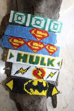 Super Hero woven loom beaded bracelet Geek Nerdy pixel comic - made to order- choose 1 Loom Bracelet Patterns, Bead Loom Bracelets, Bracelet Crafts, Bead Loom Patterns, Peyote Patterns, Beading Patterns, Melting Beads, Pony Beads, Beading Projects