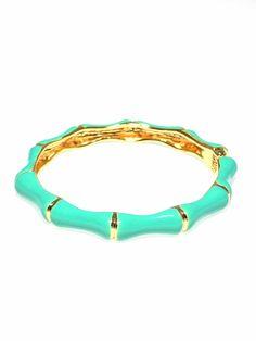 Bamboo Enamel Hinged Bracelet -Turquoise