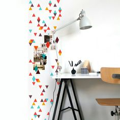 Geometric Magnetic Wallpaper - if I ever have a sewing room / studio I want this.