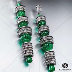 Outstanding pair of exquisite emerald and diamond earrings from the Exceptional Emerald collection by Karen Suen Fine Jewellery. 14k White Gold Earrings, Emerald Earrings, Emerald Jewelry, High Jewelry, Modern Jewelry, Jewelry Box, Dangle Earrings, Jewelry Accessories, Jewelry Design