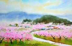 복사꽃 이야기  watercolor by insung Jung