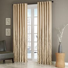 Tan Curtains For Living Room , Transitional Rod Pocket Light Curtains For Bedroom , Andora Embroidered Back Tab Fabric Window Curtains , Pack Faux Silk Curtains, Rod Pocket Curtains, Lined Curtains, Window Curtains, Silk Fabric, Sala Chocolate, Chocolate Brown, Rideaux Design, Houses