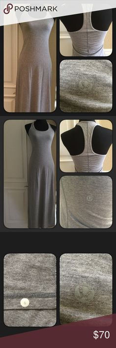 """Lululemon Racerback Maxi Dress Heather Gray racerback maxi dress by Lululemon. EUC worn twice. Size 6. Measures approximately 56"""" long. I did cut out the tag at the top since it was bugging me. The Lululemon logo is on the back left side and the size is at the bottom inside. Cute fun dress. Comes with original Lululemon bag. lululemon athletica Dresses Maxi"""