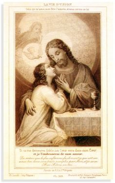 The Life of Union holy card given to St Therese by her sister Celine (Sister Genevieve) on the day of Therese's profession.