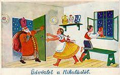 """""""Üdvözlet a Mikulástól"""" Postcard, Hungary"""
