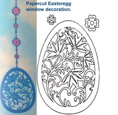 Papercut Easteregg window decoration part one.  I prepared some Easter crafts.  The template was a bit hard to get down, but hey it's only for the cut ;-)     If you printed the template don't cut it out, put trace it with a normal pencil.  Now turn it and put it face down on your cardstock, rub with a teaspoon on the back.  It will stain on your actual paper, now you can cut it out more easy, instead of twice the work!  (just rightclick, save and print :-)    Share and let them dangle ;-)