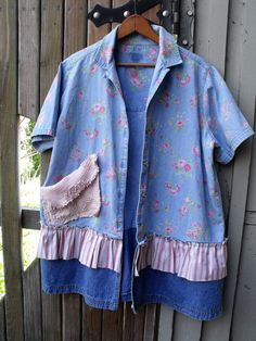 1X Floral Denim Jacket/ Rose and Denim Floral Tunic/ by SheerFab