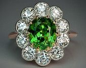 Rare 2 ct Russian Demantoid and 1.50 ct Old European Diamond Antique Engagement Ring 1910s