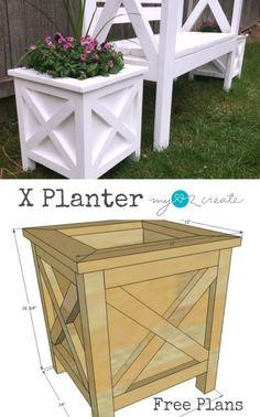 Super cute planter box with X detail. free plans #woodworking …
