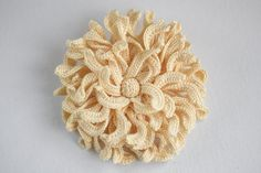 Crochet Chrysanthemum Brooch Yellow by MaLaWitchcrafted on Etsy