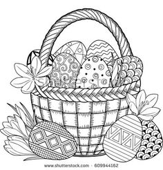 Happy Easter. Black and White Doodle Easter Eggs in the basket. Coloring book for adults for relax and meditation.