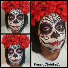 Dia de los Muertos Day of the Dead Sugar Skull Makeup Face Painting by FunnyCheeksTJ Dallas Face Painter