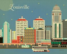 Louisville, Kentucky Skyline - Wall Art Poster Print for Home, Office, and Nursery Top Seller - style E8-O-LOV