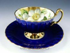 Aynsley Cobalt Blue Gold Trim Magnolia Tea Cup and Saucer