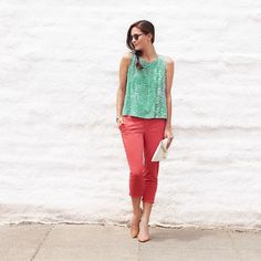 """stitchfix: """"This summer, try an unexpected chino color—like chili flake red. Instead of a neutral top, go for a complimentary color like green or marigold. #StylistTip"""""""