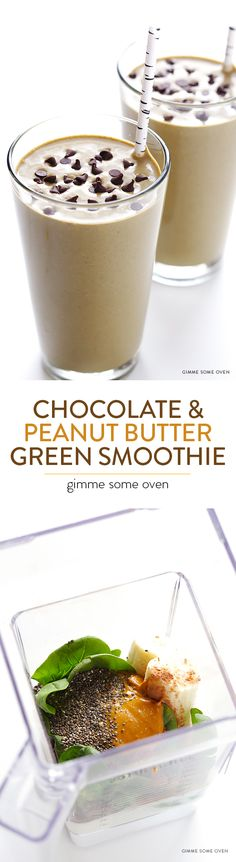 Chocolate Peanut Butter Green Smoothie -- so good, and also good for you! | gimmesomeoven.com