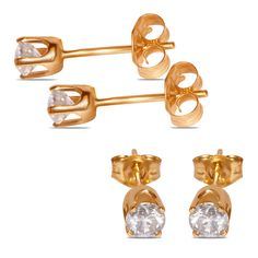 Ladies 1/4cttw Studs Earrings in 14k Yellow Gold - Jewelry Deals 80% OFF + $25 OFF extra discount on purchases $500 & UP ! Enter PINPROMOT coupon at CHECKOUT to get $25 OFF when you place your order @ NissoniJwelry.com