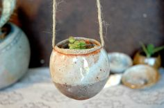 Small Hanging Handmade Pinch Pot Hanging Succulent Planter