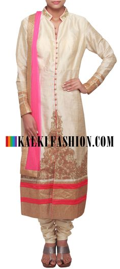 Buy Online from the link below. We ship worldwide (Free Shipping over US$100)  http://www.kalkifashion.com/cream-straight-fit-suit-enhanced-in-thread-embroidery-only-on-kalki.html