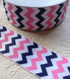 Chevron ribbon pink and navy chevron ribbon by Craftshacksupplies