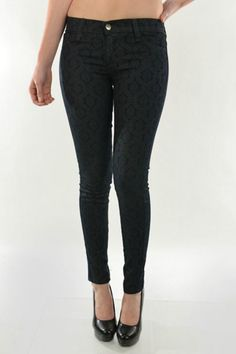 Dark pearl color, brocade print denim jeans. Paired with heels these pretty jeans are perfect for a night on the town.    Measures: Inseam : 29.75'';Leg opening: 10''   Printed Denim  Clothing - Bottoms - Jeans & Denim - Black Jeans Clothing - Bottoms - Jeans & Denim - Skinny Dallas, Texas