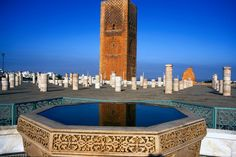 You can see the Hassan Tower in the city of Rabat. The tower is made of rusty red sandstone. The city used to be a port in North Africa for the Barbary pirates. Now, it is a World Heritage Site.